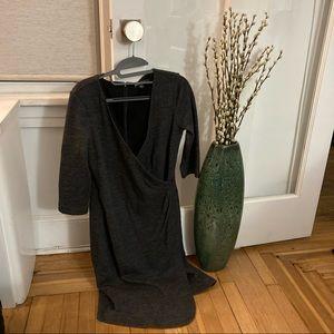 Brooks Brothers Grey Wrap Style Dress Size 6